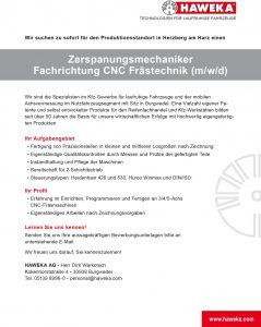 Zerspanungsmechaniker CNC-Frästechnik Herzberg