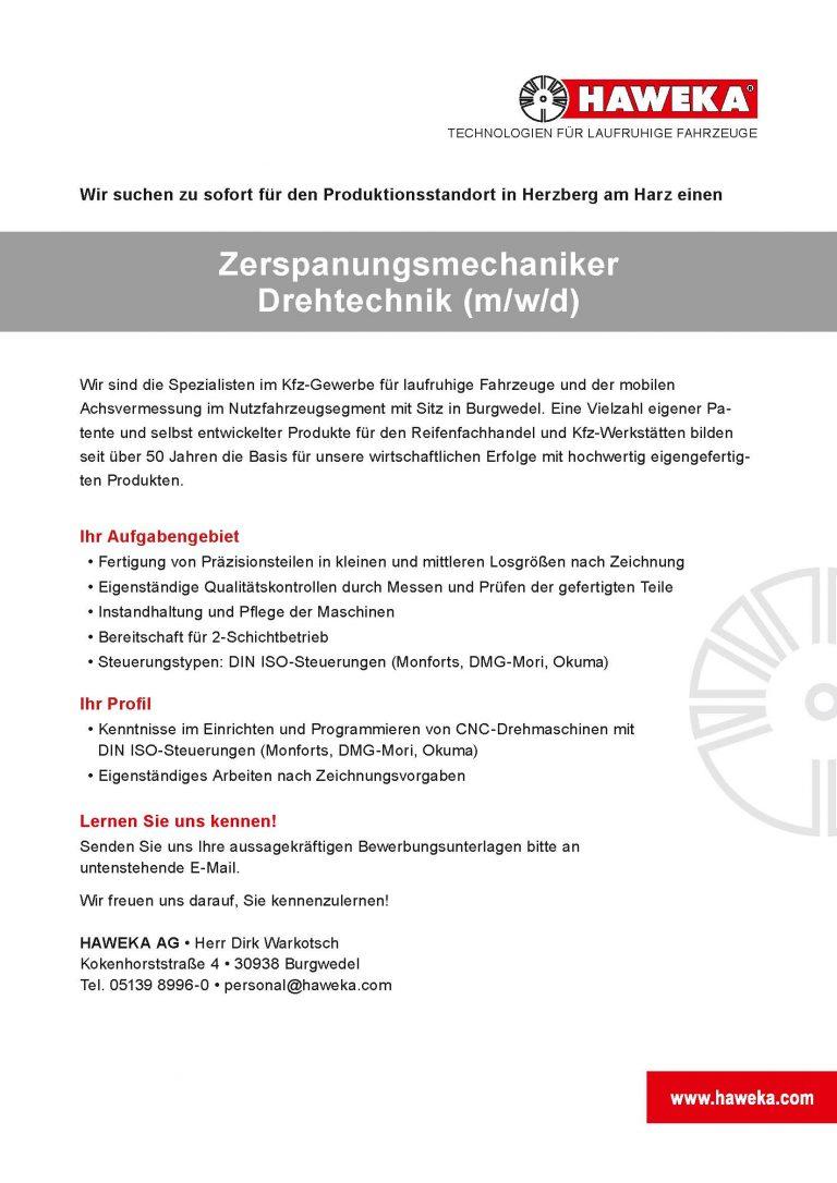 Zerspanungsmechaniker Drehtechnik Herzberg